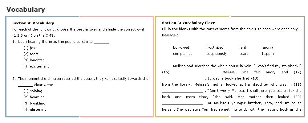 Primary School (L) - Vocabulary