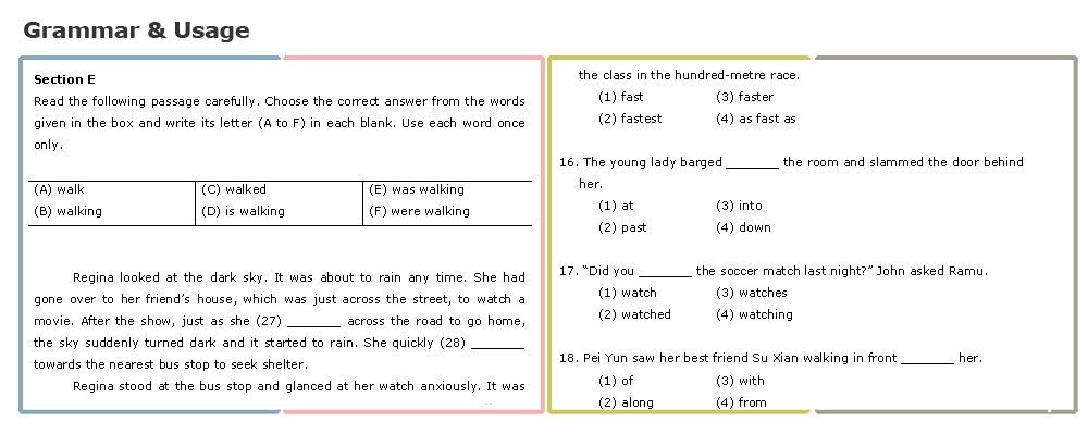 Primary School (L) - grammar & usage